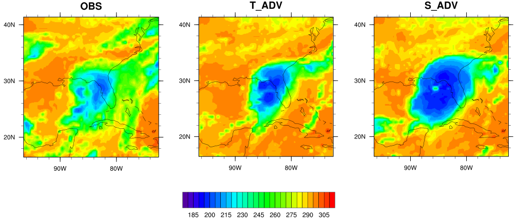 Figure 1: IR brightness temperature for Hurricane Hermine at 18Z 09/01/2016 for a) observed and 36-h forecast with b) total condensate advection and c) separate hydrometeor advection