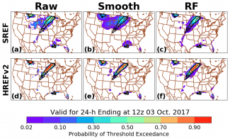 Probability of 1-inch threshold exceedance from the SREF-based raw, spatially smoothed, and RF-based forecasts.